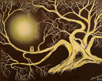 Digital Download, Owl Art, Abstract Art, Downloadable Art, Wall Art, Owl in a tree,