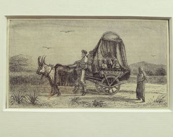 Antique engraving nomads family travel coach middle east matted print 1870s original vintage excellent condition