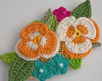 Floral Brooch - Textile Brooch - Corsage - Flower Brooch - Crochet Brooch - Textile Jewelry - Pansies - Birthday Gift - Textile Art