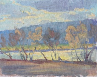 Original Painting 6x8 Impressionist Realist Original New England River Sun and Reflections Through Trees Mountains in Background Landscape