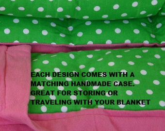 Weighted Blankets & Lap Pads-Sensory Therapy, Cotton Flannel Print/Solids/Minky Options, 100% Cotton Bedding, Hypo Allergenic Poly Pellets