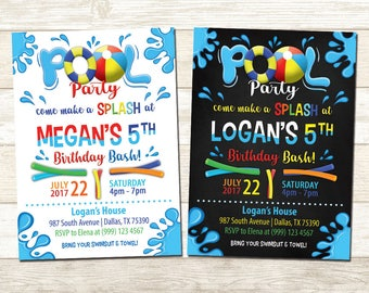 Pool Party Birthday Invitation - Swimming Pool Birthday Party - Chalkboard Pool Party Birthday invitation - Pool Party Birthday