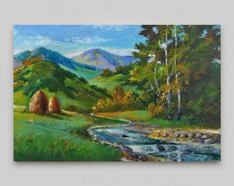 Landscape oil painting Original art Small painting Canvas art Hang wall decor Landscape oil rivulet Wall art Mountain Landscape Discount