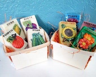 Painted Soaps of Vintage Seed Packets Flowers or Vegetables in Quart Berry Box
