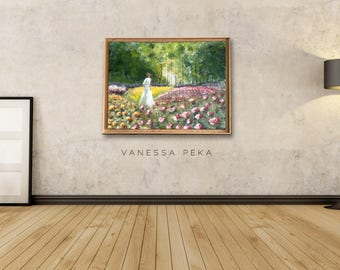 Woman in rose garden - Original Painting