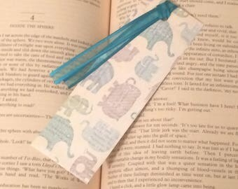 BLUE ELEPHANT BOOKMARK with text