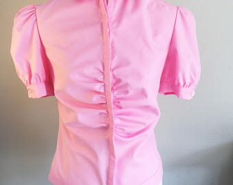 Pink RUFFLE BLOUSE, short sleeve blouse with ruffle in pink cotton, pink cotton blouse, puff sleeves, narrow shape, ruffle top, 50, spring