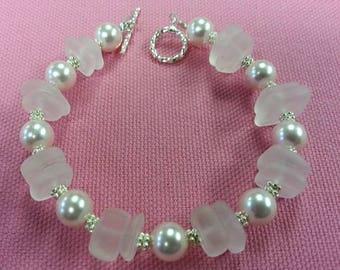 Pink Sea Glass Bracelet , Pink Swarvoski Pearls,Prom Bracelet, Wedding Set, Pink Pearl Earrings!