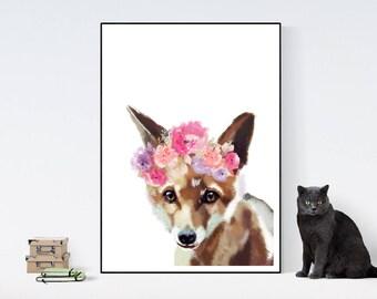 Fox floral crown Children room quote art PRINT 11'' x 13'' hand drawn print