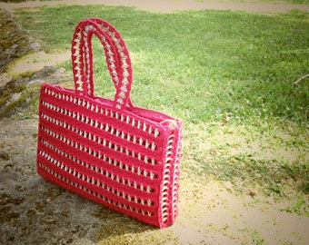 Red Crochet Handbag Soda Pop tabs