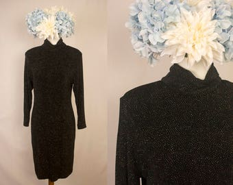 Vintage 1980s Black and Gold Sparkly High Cowl Neck Long Sleeved Dress