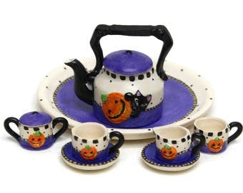 Dollhouse Miniature Matte Porcelain, Hand-Painted Tea Set, Miniature Fairy Garden Accessories, Halloween Themed Tea Set, Collectible Item