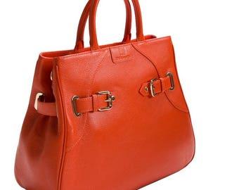 Zardangs Large Frederique Satchel Leather Handbag, Tangerine