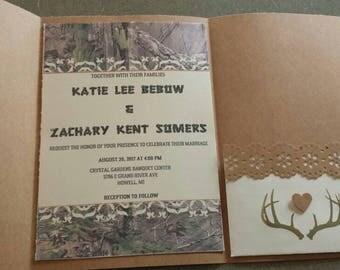 Set of 50 Camo Pocketfold Wedding Invitations