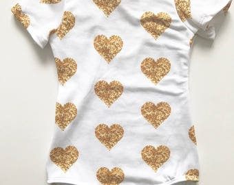 Baby Toddler Girls Gold Glitter Heart Leotard