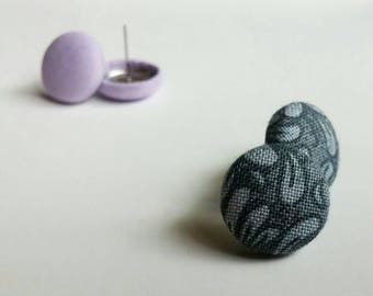 Fabric button earrings earrings buttons fabric - made in Quebec
