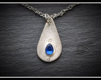 Silver Detailed Teardrop CZ Pendant - Silver Precious Metal Clay (PMC), Handmade, Necklace - (Product Code: ACM069-17)