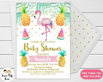 Flamingo Watercolor Baby Shower Invitation, Watercolor Baby Shower  Invitation, Flamingo Baby Shower Invitation,