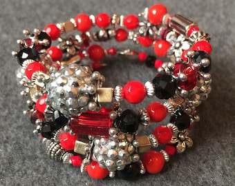 Unique Hand made black, red, silver beaded multi strand bracelet using vintage and modern elements