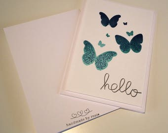 Pack of 4 Handmade Butterfly Hello Cards