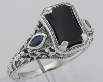 Antique Style Black Onyx Filigree Ring w/ Real Sapphires Sterling Silver 8 Free Shipping .925