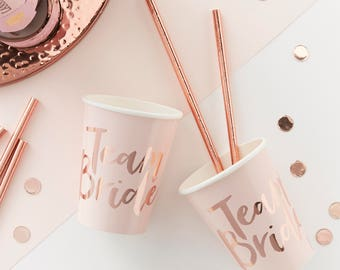 Pink & Rose Gold Team Bride Party Cups, Hen Party Cups, Bachelorette Party Props, 8 Pack
