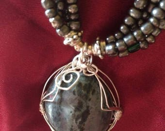 grey quartz beaded necklace