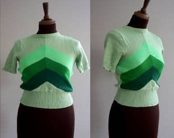 1960s Green Geometric Knitted Top