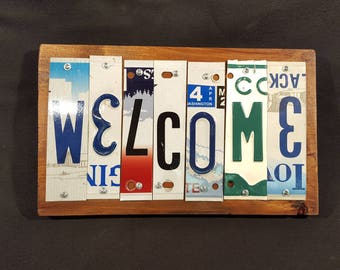 Wall Hanging - License Plate Welcome Sign