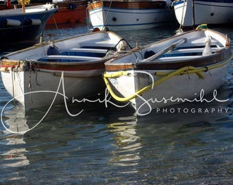 Rowing boats in the port of Capri - colorful impressions - unique wall decorations for every room!