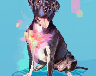 Heart of Gold - Pitbull - Artwork on Canvas 24 x 30