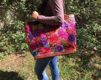 Handmade Embroidered / Leather GuatemalanTote