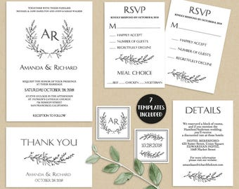 Wedding Invitation Set, Wedding Invitation Suite, Rustic, Wreath, Editable, Printable, DIY Wedding Template Set, PDF Instant Download LW210