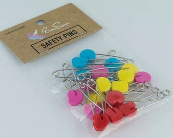 Heart Safety Pins | Multicolored Heart Shaped Locking Safety Pins | Sewing Notions, Quilt Basting, Kids Crafts | Locking Heart Heads