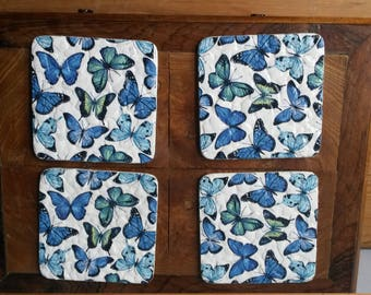 Coasters, Decorated Coasters, Set of Four Coasters, Butterfly Coasters