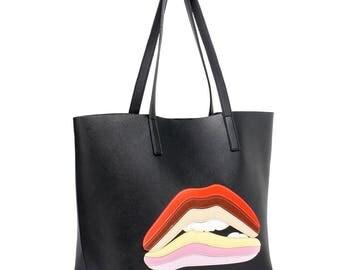 Black Rainbow Lip Tote