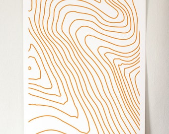 A3 Orange Contour Giclée Print
