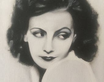 Greta Garbo Black and white Oil Painting 2