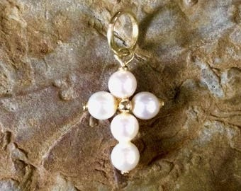Vintage baptism gift etsy pearl cross charm cross charm 14kt gold cross charm baptism gift communion negle Gallery