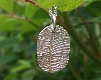 Feather Inspired Pendant in Fine Silver