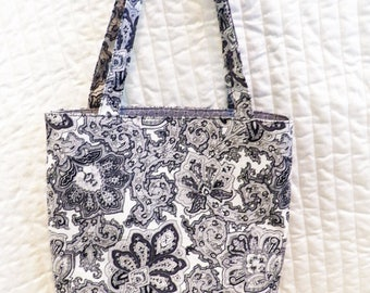 reversible black and white tote