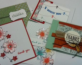 "5 Handmade ""Thank you"" cards with envelopes"