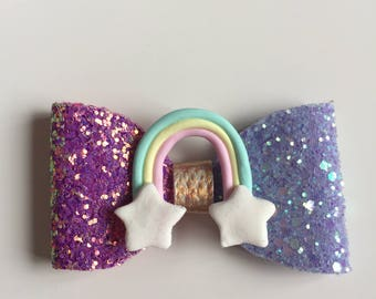 A beautiful handmade sparkly pastel rainbow hairclip
