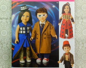 "Simplicity 8111Sewing Pattern to make Doctor Who themed doll clothes for 18"" (45.5cm) boy and girl dolls"