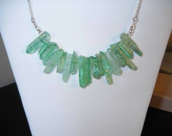 raw green crystal necklace, raw crystal, green quartz, green crystal necklace