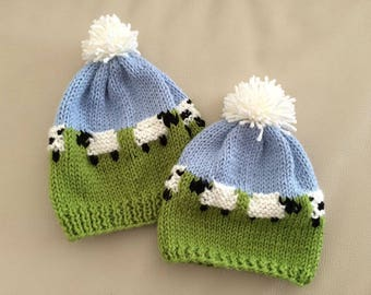 Knitted sheep hat, Winter hat