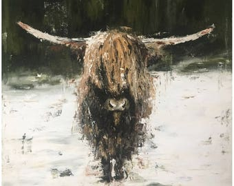 "abstract oil on canvas - highland cattle - original - 16"" x 16"""