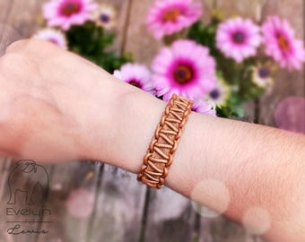 Leather Bracelet with magnetic closure, handmade, for men and women, Brown, rust brown
