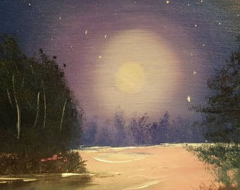 ON SALE Midsummer night.  Landscape oil painting ready to ship. Ready to hang