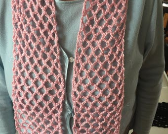 Crocheted Pink Scarf